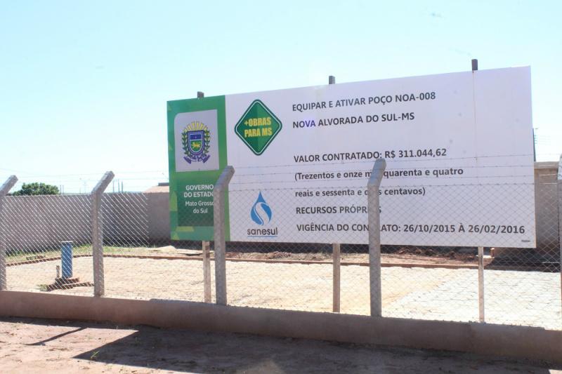 O poço está sendo realizado no Bairro Maria de Lourdes e conta com investimentos do Governo do Estado de Mato Grosso do Sul